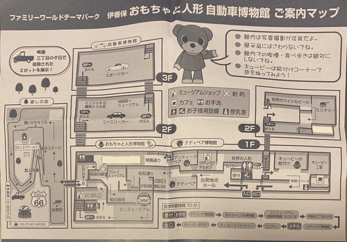 伊香保おもちゃと人形自動車博物館内マップ